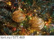 Купить «Золотистые плетеные елочные шары», фото № 577469, снято 22 ноября 2008 г. (c) Архипова Мария / Фотобанк Лори