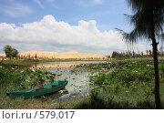 Озеро лотосов на фоне песчаных дюн (2008 год). Стоковое фото, фотограф Иванов Юрий / Фотобанк Лори