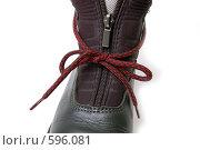 Купить «Застежка-молния на ботинке», фото № 596081, снято 2 декабря 2008 г. (c) RedTC / Фотобанк Лори