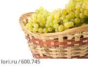 Купить «Свежий виноград в корзинке на белом фоне», фото № 600745, снято 24 августа 2008 г. (c) Мельников Дмитрий / Фотобанк Лори