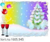 Купить «Зеленая елочка в снегу на зимнем лунном фоне», иллюстрация № 605945 (c) Наталья Быстрая / Фотобанк Лори