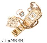 Купить «Золотые женские украшения и наручные часы», фото № 606009, снято 16 декабря 2007 г. (c) Вадим Пономаренко / Фотобанк Лори