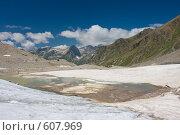 Купить «Панорама Кавказа, вид с ледника», фото № 607969, снято 8 августа 2008 г. (c) Vladimir Fedoroff / Фотобанк Лори