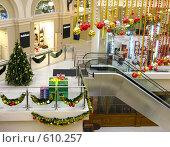 Купить «Новогоднее оформление торгового центра», фото № 610257, снято 9 декабря 2008 г. (c) Юлия Подгорная / Фотобанк Лори