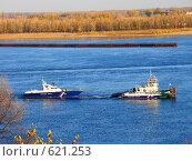 Тянем-потянем... Три катера на Волге. (2008 год). Редакционное фото, фотограф Алла Кригер / Фотобанк Лори
