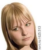 Зеленоглазая блондинка на белом фоне. Стоковое фото, фотограф Арина Соколова / Фотобанк Лори
