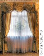 Купить «Штора в комнате жилого дома», фото № 626713, снято 23 сентября 2008 г. (c) Гребенников Виталий / Фотобанк Лори