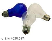 Купить «Три электрических лампочки на белом фоне», фото № 630597, снято 14 марта 2008 г. (c) Гребенников Виталий / Фотобанк Лори