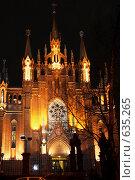 Купить «Ночная Москва. Римско-католический Кафедральный собор (фасад)», эксклюзивное фото № 635265, снято 30 ноября 2008 г. (c) Татьяна Белова / Фотобанк Лори