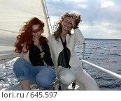 Купить «Непослушные локоны, прогулка девушек под парусами», фото № 645597, снято 7 июня 2006 г. (c) Татьяна Баранова / Фотобанк Лори