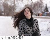 Купить «Девушка с развевающимися волосами», фото № 650437, снято 2 января 2009 г. (c) Яков Филимонов / Фотобанк Лори