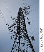 Купить «Опора высоковольтной линии электропередачи», фото № 653041, снято 3 января 2009 г. (c) Юлия Дашкова / Фотобанк Лори