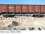Купить «Полувагон с открытыми разгрузочными люками», фото № 653709, снято 11 ноября 2008 г. (c) Игорь Гришаев / Фотобанк Лори