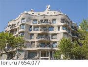 Купить «Дом Каса Мила ( Casa Mila-La Pedrera) архитектора А. Гауди. Барселона, Испания.», фото № 654077, снято 23 июня 2019 г. (c) Vitas / Фотобанк Лори