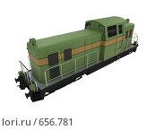 Купить «Зеленый поезд. Изолировано», иллюстрация № 656781 (c) ИЛ / Фотобанк Лори