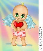 Купить «Ангелок держит сердечко», иллюстрация № 662737 (c) Лена Кичигина / Фотобанк Лори
