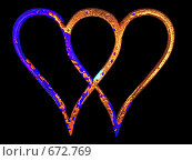 Купить «Абстракция из двух сердечек», иллюстрация № 672769 (c) Королевский Иван / Фотобанк Лори