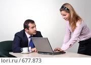 Купить «Коллеги: молодые бизнесмены в офисе», фото № 677873, снято 21 июля 2007 г. (c) Владимир Мельник / Фотобанк Лори