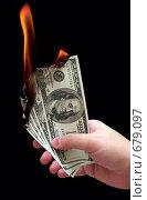 Горящие доллары. Стоковое фото, фотограф Минаев С.Г. / Фотобанк Лори