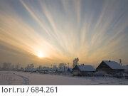 Деревня зимой, красивый закат. Стоковое фото, фотограф Михаил Павлов / Фотобанк Лори