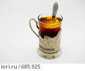 Стакан чая с лимоном в подстаканнике. Стоковое фото, фотограф Игорь Перелётов / Фотобанк Лори