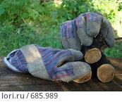 Рабочие перчатки лежат на чурбачках. Стоковое фото, фотограф Игорь Перелётов / Фотобанк Лори