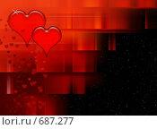 Купить «Абстракция с красными cердцами», иллюстрация № 687277 (c) ElenArt / Фотобанк Лори