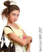 Девочка с учебником. Стоковое фото, фотограф Елена Иценко / Фотобанк Лори