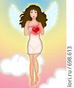 Купить «Девушка ангел держит сердце», иллюстрация № 698613 (c) Лена Кичигина / Фотобанк Лори