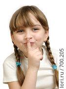Веселая девочка на белом фоне. Стоковое фото, фотограф Виталий Меркулов / Фотобанк Лори