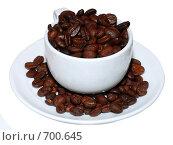 Зерна кофе в чашке. Стоковое фото, фотограф семен плужник / Фотобанк Лори