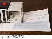 Печать на чековой книжке. Стоковое фото, фотограф Okssi / Фотобанк Лори