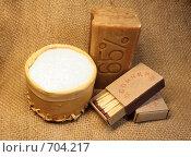 Купить «Соль,спички,мыло на фоне мешковины», фото № 704217, снято 10 февраля 2009 г. (c) Анастасия Семенова / Фотобанк Лори