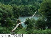 Купить «Подвесной пешеходный мостик через реку Бзыбь», фото № 706861, снято 9 августа 2008 г. (c) Татьяна Нафикова / Фотобанк Лори