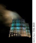 Ночная подсветка Самарской ТЭЦ (2008 год). Стоковое фото, фотограф Возмилова Светлана / Фотобанк Лори