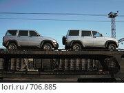 Купить «Транспортировка легковых автомобилей железнодорожным транспортом», эксклюзивное фото № 706885, снято 15 апреля 2007 г. (c) Ivan I. Karpovich / Фотобанк Лори