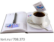 Купить «Открытый ежедневник,чашка кофе и экономические  цветные графики», фото № 708373, снято 11 января 2009 г. (c) Vitas / Фотобанк Лори