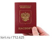 Купить «Рука, держащая российский паспорт», фото № 712625, снято 19 января 2009 г. (c) Vitas / Фотобанк Лори