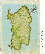 Купить «Стилизованная под старину карта Сардинии», иллюстрация № 713745 (c) Олеся Сарычева / Фотобанк Лори