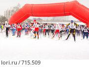 Купить «На старте лыжных соревнований. Битца, Москва», фото № 715509, снято 21 февраля 2009 г. (c) Ольга Полякова / Фотобанк Лори