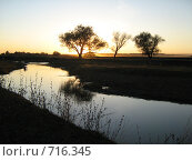 Закат на реке Стерля. Стоковое фото, фотограф Грубова Наталья / Фотобанк Лори