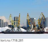 Купить «Портовые краны», фото № 718281, снято 21 февраля 2009 г. (c) Алексей Байдин / Фотобанк Лори