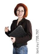 Купить «Рыжеволосая девушка с папкой», фото № 735797, снято 12 апреля 2007 г. (c) Марианна Меликсетян / Фотобанк Лори