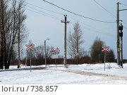Купить «Неохраняемый железнодорожный переезд», фото № 738857, снято 23 февраля 2009 г. (c) Евгений Поздняков / Фотобанк Лори