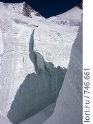 Купить «Большая трещина на леднике на склоне Белухи. Алтай, Россия», фото № 746661, снято 26 июля 2008 г. (c) Max Toporsky / Фотобанк Лори