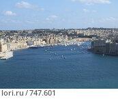 Вид из садов Валетты на Великую гавань и Витториозу, Мальта (2005 год). Стоковое фото, фотограф Елена Денисенко / Фотобанк Лори