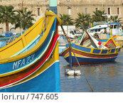 Традиционная мальтийская рыбацкая лодка (2005 год). Стоковое фото, фотограф Елена Денисенко / Фотобанк Лори
