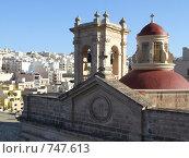 Церковь и вид на город Мелиха, Мальта (2005 год). Стоковое фото, фотограф Елена Денисенко / Фотобанк Лори