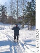 Купить «Пожилой мужчина на лыжах», фото № 755557, снято 11 февраля 2009 г. (c) Павел С. / Фотобанк Лори