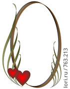 Купить «Овальная рамка с двумя красными сердечками», иллюстрация № 763213 (c) Алексей Лебедев-Реллер / Фотобанк Лори